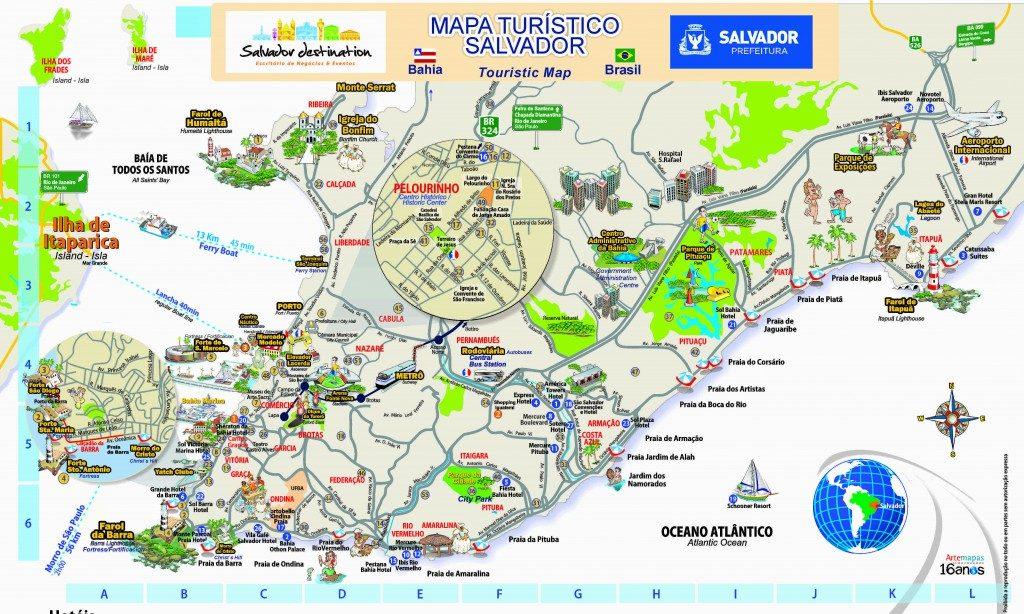 Mapa turístico; Salvador; Bahia